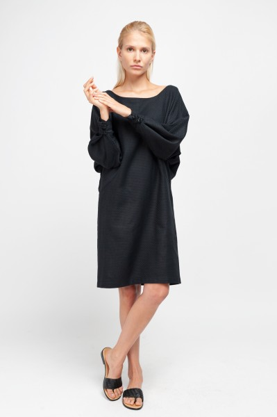 MERYL DRESS cotton structure black